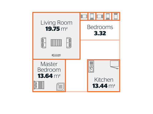 image showing the average size of different rooms in a home - 2000s
